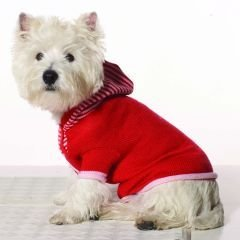 X Large Dog Striped Hoodie - Red