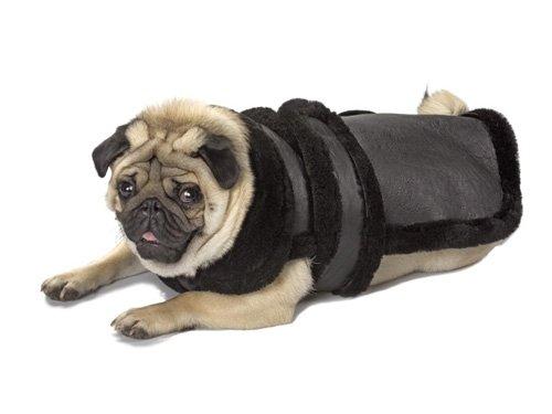 X Small Dog Genuine Shearling Coat - Black