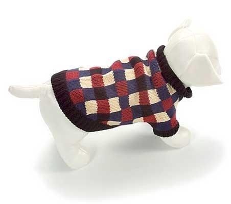 X Small Dog Barney Sweater - Blue/Cream/Burgundy