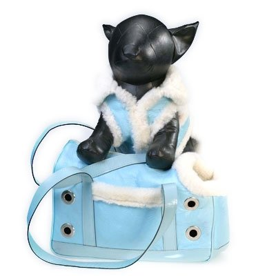 Genuine Shearling Dog Carrier - Blue