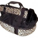 Small Breed Leopard Plush Tote Dog Carrier
