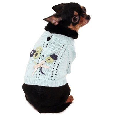 Small Dog Bouquet Sweater - Mint Blue