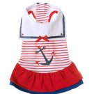 Large Dog Sailor Day Dress - Red