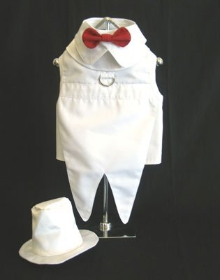 Small Dog Tuxedo With Tails, Top Hat, Bow Tie Collar - White