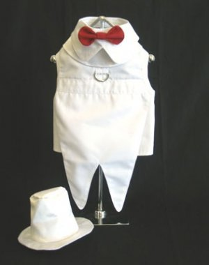 X Large Dog Tuxedo With Tails, Top Hat, Bow Tie Collar - White