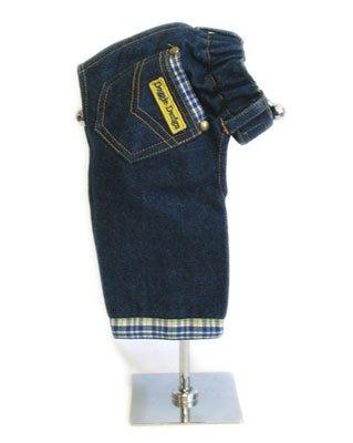 Large Designer Dog Jeans With Blue & Yellow Plaid Trim