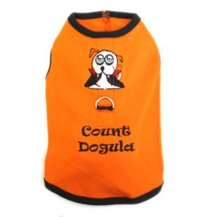 Small Count Dogula Dog Harness-T Halloween Tank With D Ring