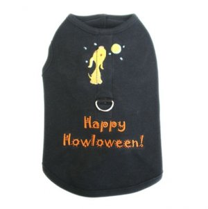 Small Happy Howloween Dog Harness-T Halloween Tank With D Ring