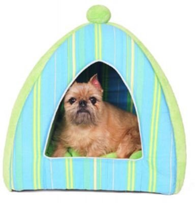 Blue & Lime Striped Plush Dog Tent Bed