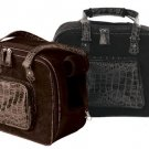 Faux Suede Croco Dog Carrier - Black
