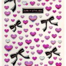 Youmec girly stylish ribbons and hearts sticker sheet
