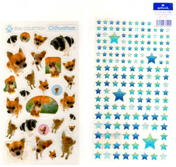 Chihuahua puppies and stars sticker sheet lot 2 pieces