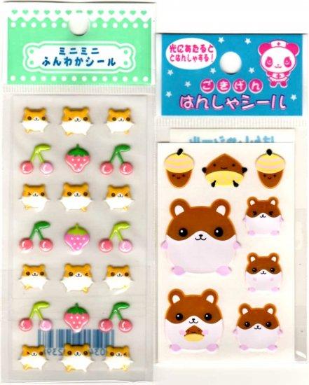 kawaii fruits and acorns hamsters mini sticker lot