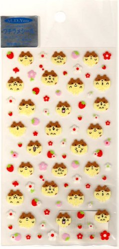 kawaii M.D. You fruits and flowers hamsters sticker sheet