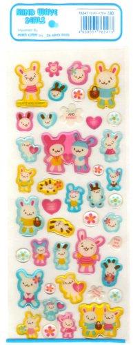 kawaii Mind Wave heart and rabbit sticker sheet