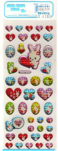 kawaii Mind Wave heart bunnies sticker sheet