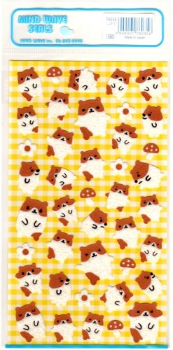 kawaii Mind Wave mushroom hamsters sticker sheet