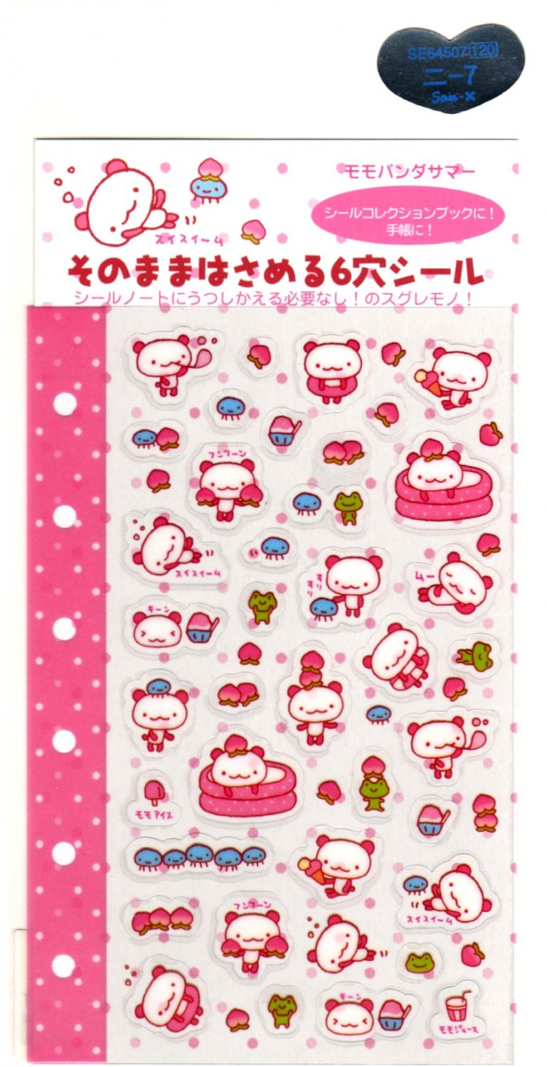 kawaii San-x momo panda sticker sheet 2001