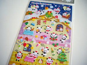 kawaii Mind Wave panda's christmas sticker sheet