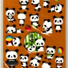 kawaii Kamio Japan puffy panda sticker sheet USED