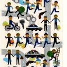 kawaii Q-lia police chase sticker sheet