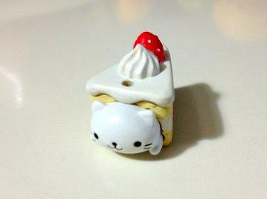 San-x Nyanko strawberry cake slice charm USED