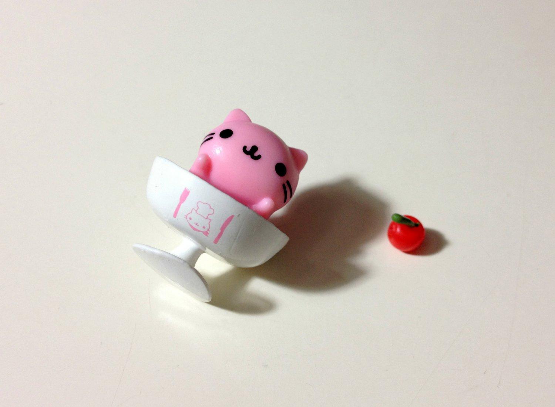 San-x Nyanko pink soup charm USED