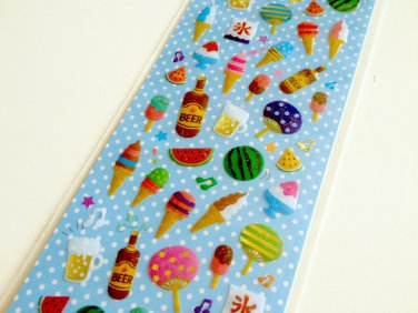 Clothes Pin Japan summer theme drop seal sticker sheet