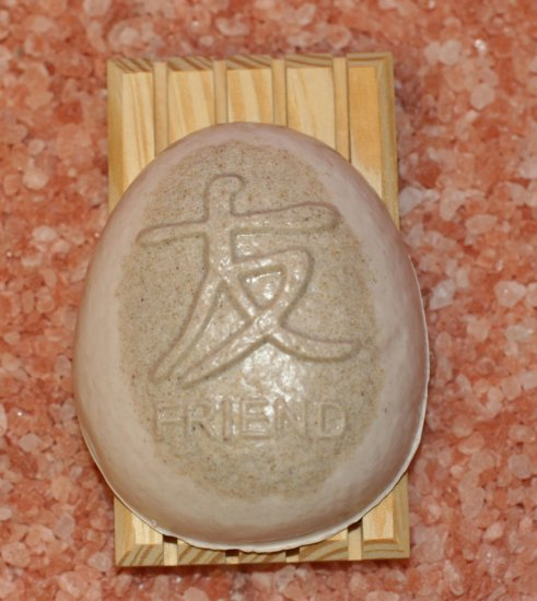 Handcrafted Almond Oatmeal Soap in Chinese Character (FRIEND) Design