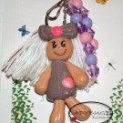 OOAK Handcrafted zipper pull  - lavender rag doll keychain