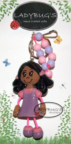 OOAK Handcrafted zipper pull - AA Girl with purple and pink dress