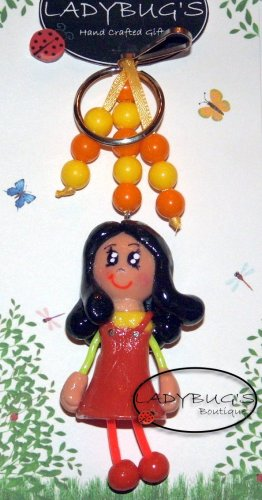 OOAK Handcrafted zipper pull Girl with black hair, orange and yellow dress