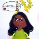 Unique Handcrafted zipper pull - AA Girl with yellow and green dress