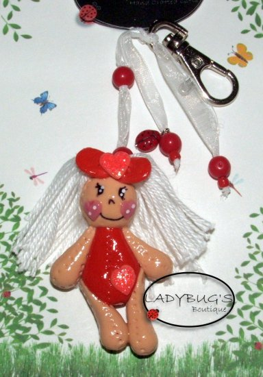 OOAK Handcrafted zipper pull - Red rag doll keychain
