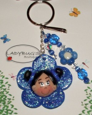 Unique Handcrafted Keychain - Blue flower girl