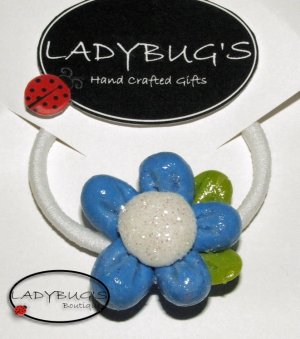 Unique handcrafted Ponytail Holder - Hairbow - Blue Flower (2)