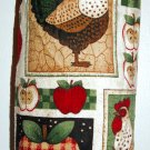 Plastic bag holder - Grocery bag recycler - Small rooster and apples - Green