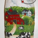 Plastic bag holder - Grocery bag recycler - Small - Cows on field and red barn