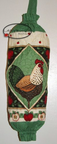 Plastic bag holder - Grocery bag recycler - Small - Rooster with green border
