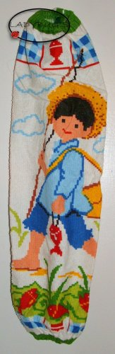 Plastic bag holder - Grocery bag recycler - Large - Colorful fishing boy