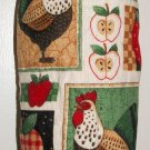 Plastic bag holder - Grocery bag recycler - Small rooster and apples - Red