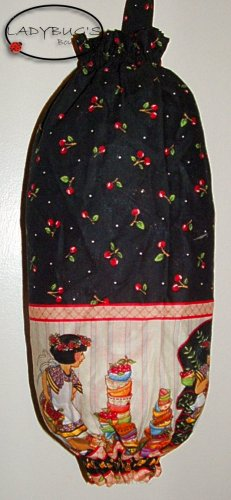Plastic bag holder - Grocery bag recycler - Small - ME Cherries Mary Engelbreit