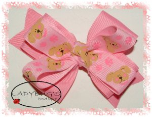 Custom Boutique hairbow - Baby Pink with puppies