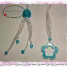 Beaded bookmark * Sky blue lucite flower charms and beads