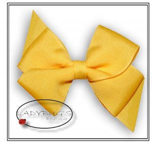 """4"""" Custom Boutique hairbow - Yellow  * French Barrette"""