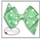 "4"" Custom Boutique hairbow - Lime green polka dots * French Barrette"