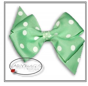 """4"""" Custom Boutique hairbow - Lime green polka dots * French Barrette"""
