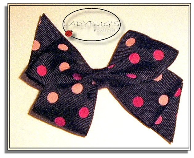 """4"""" Custom Boutique hairbow - Black with pink polka dots"""