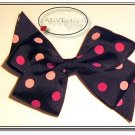 "4"" Custom Boutique hairbow - Black with pink polka dots"