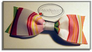 """4"""" Custom Boutique hairbow - Preppy stripes"""